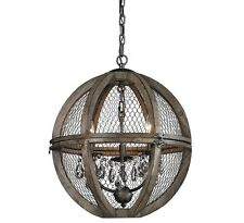 Orb Chandelier, French Modern Crystals Restoration Wood Globe , LaylaGrace, $678