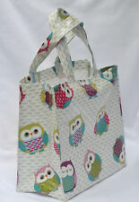 Handmade Cotton Oilcloth mini tote Lunch, craft, Childs Bag - Fun Owls