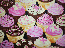 CLEARANCE FQ BRIGHT FAIRY CUPCAKES CANDY CHOCOLATE PINK RIBBON FABRIC FOOD