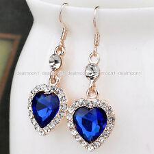 Love Forever Women Crystal Rhinestone Blue Heart Drop/Dangle Crystal Earrings