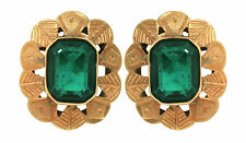 Ladies Vintage 1960s 14K 585 Yellow Gold Emerald Flower Stud Butterfly Earrings