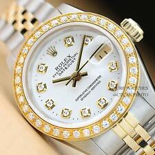 ROLEX LADIES WHITE DIAMOND DIAL DATEJUST 18K YELLOW GOLD/SS WATCH
