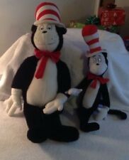 Lot Of Two (2) Dr. Seuss Plush~Cat In The Hat~Large And Small Plush Toys