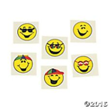 SET OF 72 Goofy Smile Face Emoji Temporary Tattoos Summer Fun Yellow Smiley