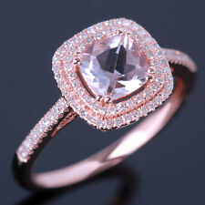 Solid 10K Rose Gold Engagement Wedding Fine Ring 6mm Cushion Morganite Diamonds