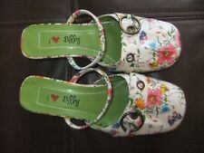 """""""I LOVE BILLY"""" Kitten Heel Mules FLORAL SIZE 37 Vegan/Faux Leather/Never worn"""