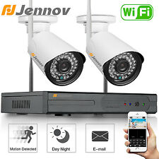 Jennov 4CH 720P Wireless Security Camera NVR System Outdoor Day Night Vision