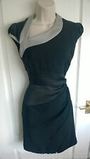 RARE KAREN MILLEN MATT SATIN PANEL BODYCON OPEN BACK DRESS SIZE 8 6 BLACK