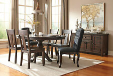 ADAMS - 7pcs Traditional Brown Round Oval Dining Room Table & Mixed Chairs Set