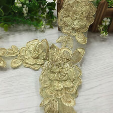 2 Yards Vintage Flower Lace Trim Applique Wedding Bridal Dress Sewing Craft DIY