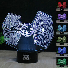 Tie Fighter 3D LED Night Light 7 Color Change Touch Switch Table Desk Lamp Gift