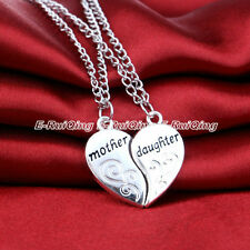 2PC/Set Heart Charm Mother Daughter X'mas Gift Women Chain Pendant Necklace Hot