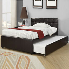 Contemporary Espresso Faux Bycast Leather Twin Full Platform Trundle Bed F9215T