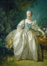 Art Beautiful Oil painting francois boucher noblelady seated in landscape & rose