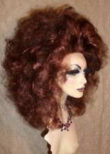 Drag Queen Wig Costume Lace Front Dark Auburn on Auburn Long Teased Out