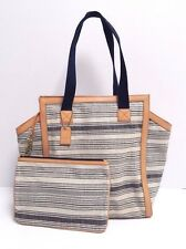 Fossil Tessa Canvas Beach Tote (Navy Stripe)