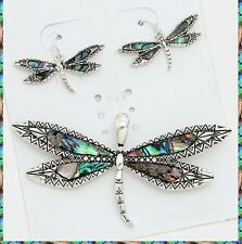 "23"" Chain Silver Metal Necklace Pendant Dragonfly Abalone Colorful Earrings Set"