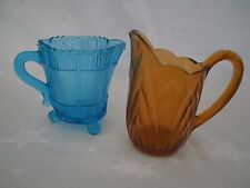 ART DECO VINTAGE SOWERBY BLUE GLASS SMALL MILK JUG/CREAMER+ONE amber JUG JOB LOT