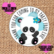 Personalised 24 panda party bag stickers sweet cone birthday pip