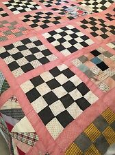 "Old Vintage Patchwork Quilt Top 100 % Hand Stitched~70"" X 80"""