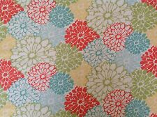 ~ REMNANT ~ FLANNEL~Flowers~Quilting~Fabric~Flannelette~Orange~Aqua~Girls~ Baby~