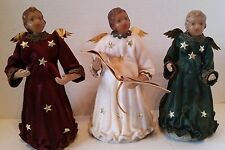 Vintage Wax Angel Christmas Tree Toppers German Matching Dresses Gold Foil Wings