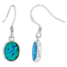 Sterling Silver Opal Oval Shape Dangle Earrings