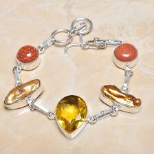 """Handmade Elegant Yellow Citrine 925 Sterling Silver Bracelet 7.75"""" #N00133"""