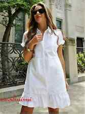ZARA NEW WHITE SHIRT DRESS WITH FRILL FLOUNCE HEM SIZE M