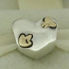 Authentic Pandora 791171 Love Struck 14K Gold Heart Silver Bead Charm