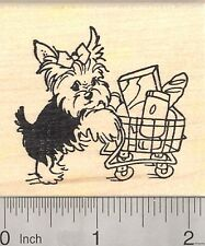 Yorkshire Terrier Dog Rubber Stamp, Yorkie with Grocery Shopping Cart  J23208 WM