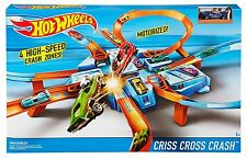 NEW Hot Wheels Criss Cross Crash motorized race car track set loops