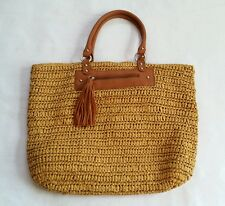 J Jill Straw Market Tote Beach Bag fringed tassel 15 x 19