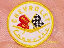 "Vintage Chevrolet Covette Embroidered Patch White, Yellow Piping 2 7/8"" Diameter"
