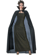 Black Full Length Cape Cloak Royal King Queen Vampire Long Halloween Costume