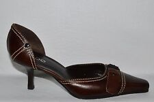 ALDO SZ 8 M 39 BROWN LEATHER D'ORSAY PUMPS SHOES