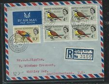 BRITISH HONDURAS (P2712B) QEII 1964 SELF FOVT 4C BL 4+10C BIRD REG TO ENGLAND