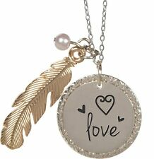 """Nature's Grace LOVE Feather Pendant Necklace on 18"""" Chain, by AngelStar 16162"""