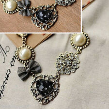 HX 1PC Bronze Tone Pearl Bow Necklace with Rhinestone Love Roses Sweater Chain