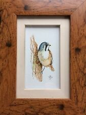 Original Framed Watercolour Painting Bearded Tit By Lisa Evans