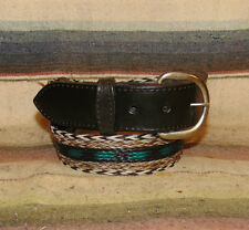 Vintage Black White Blue Gray Woven Horsehair / Leather Western Belt Size 30 New