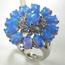 Amazing  Fire Blue  Opal & White Topaz  Ring 925 silver Size 10