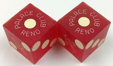 CASINO DICE - PALACE CLUB PAIR USED MATCHING RED DICE RENO NV - FREE SHIPPING