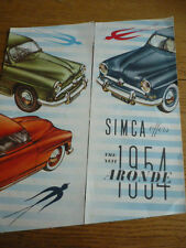 Simca aronde 1954 les ventes automobiles brochure english language