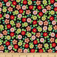 Mary Engelbreit Trimming the Tree Christmas Floral, Black Cotton Fabric BTY