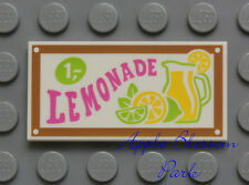 NEW Lego LEMONADE STAND SIGN - Friends Minifig Food 2x4 Printed FLAT WHITE TILE