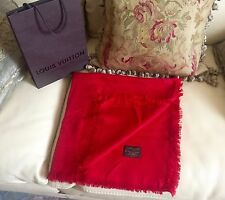 New LOUIS VUITTON Monogram Red  Shawl Scarf LV 402336 RRP $600