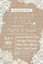 Engagement Wedding Lace Vintage Rustic Invite Invitation Party Event