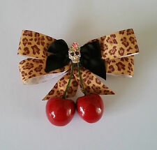 Rockabilly Vintage Pinup Hair Fascinator Clip Diamonte Skull Cherry Leopard Bow