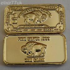 1 Grammo Puro 999 ammenda SOLID SILVER + 24K Gold Buffalo LINGOTTO BAR LINGOTTO regalo UK